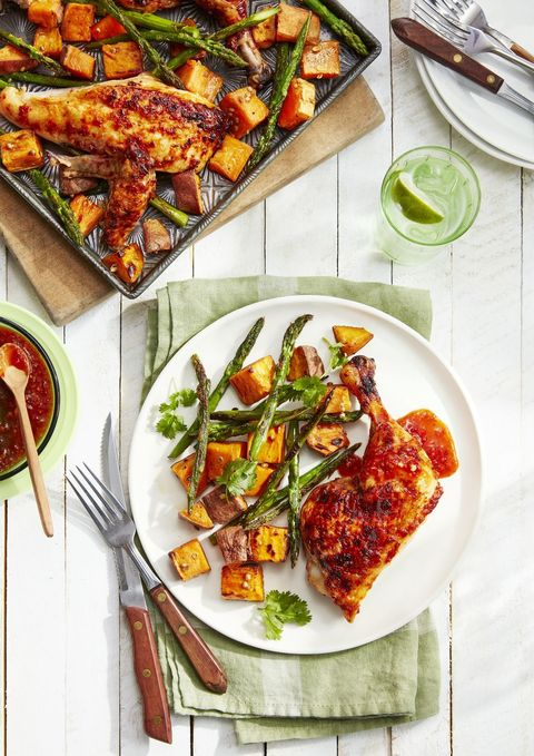 sweet and spicy chicken with roasted sweet potatoes and asparagus