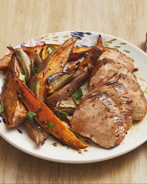sweet potato recipes tuscan pork sheet pan dinner on white plate