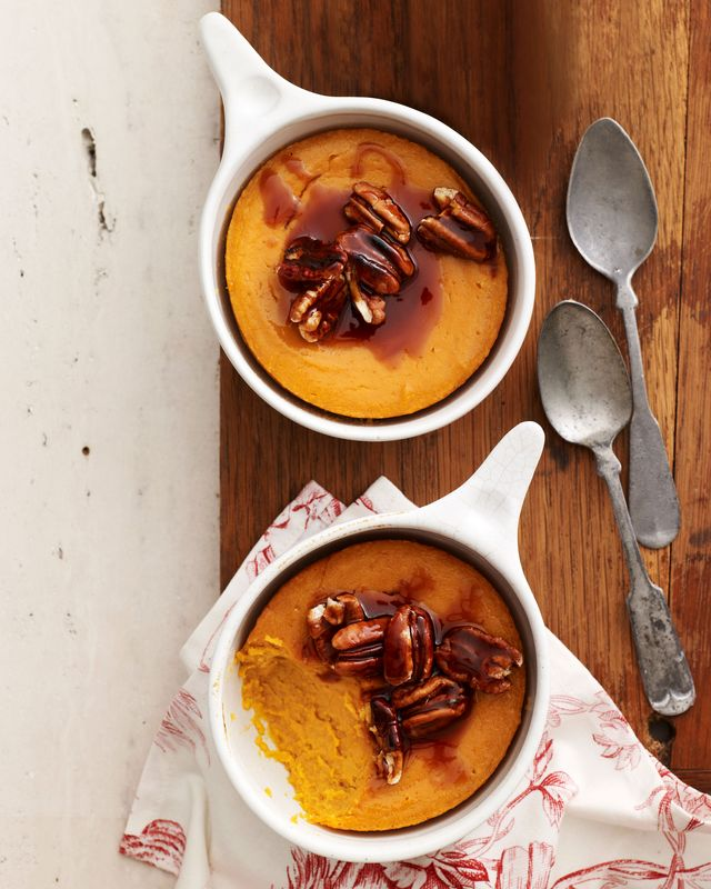 sweet potato spoon bread with caramel pecan topping