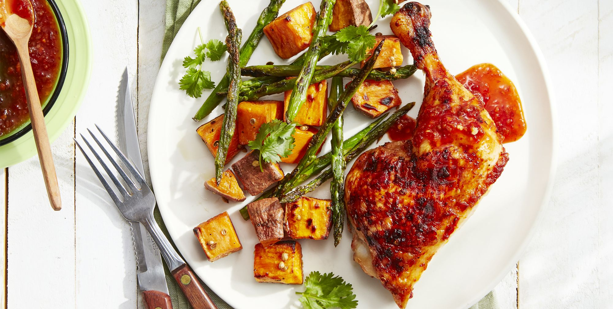 Sweet-and-Spicy Chicken With Roasted Sweet Potatoes and Asparagus