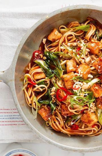 Sweet and Sticky Tofu Noodle Bowl