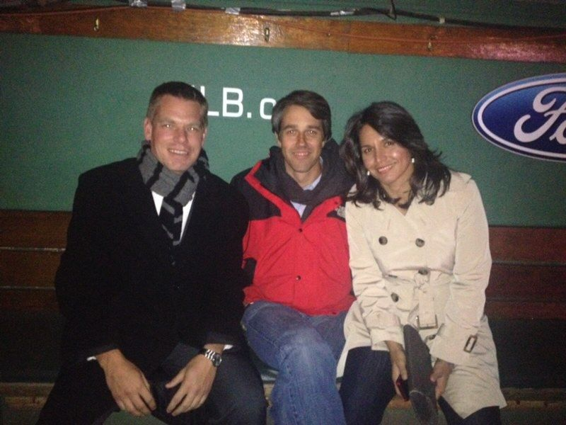 Representatives-elect Swalwell, Beto O'Rourke, and Tulsi Gabbard in 2012 at Fenway Park in Boston during an orientation event for new members of Congress. All three are now running for president.