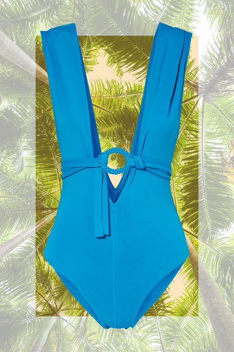 Clothing, Aqua, Blue, Turquoise, Yellow, Monokini, Swimwear, One-piece swimsuit, Swimsuit top, Undergarment,