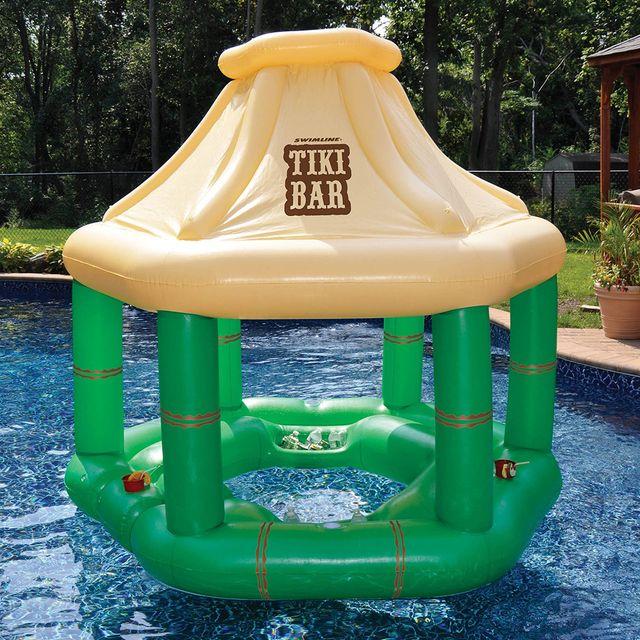 swimline inflatable pool floating tiki bar