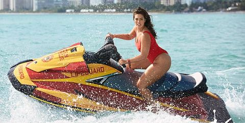 2a59e6a4d35db Ashley Graham 'Baywatch' Red Swimsuit Photos For Swimsuit For All ...