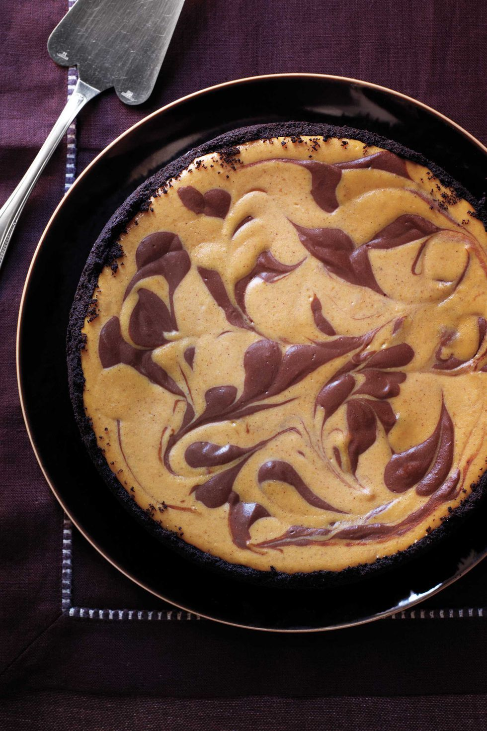Swirled Pumpkin and Chocolate Cheesecake Thanksgiving Dessert