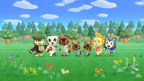 Classic Animal Crossing characters Blathers, K.K. Slider, Tom Nook, Timmy and Tommy, Isabelle, and Mabel.