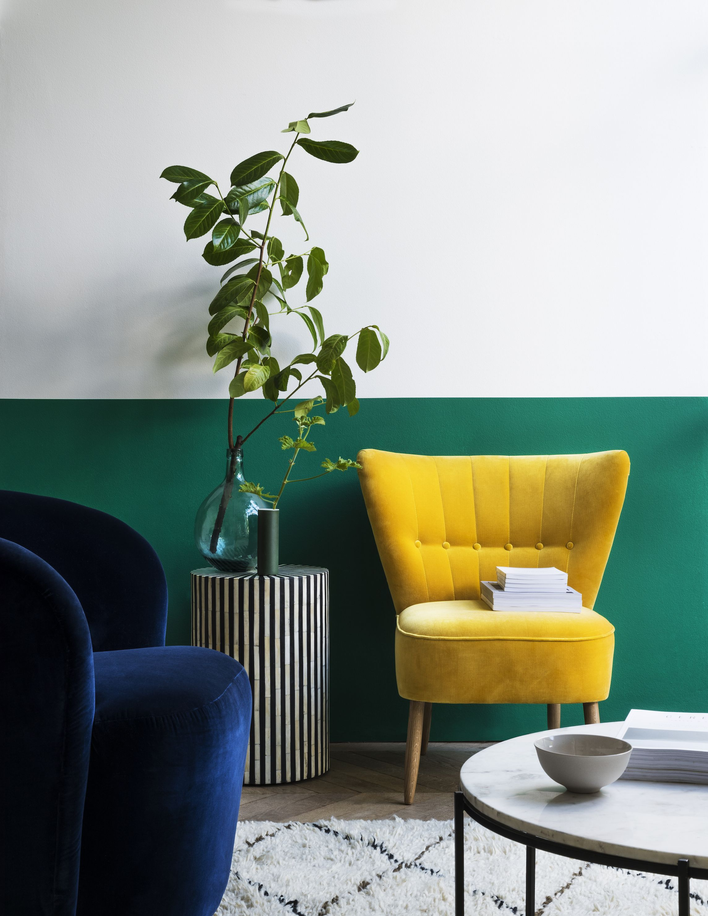 Swoon living room - yellow velvet chair & Yellow Colour Furniture Is A Big Home Decor Trend Right Now
