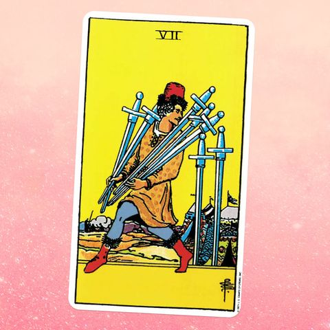 the tarot card for the seven of swords a man carries five swords, with two more swords standing next to him