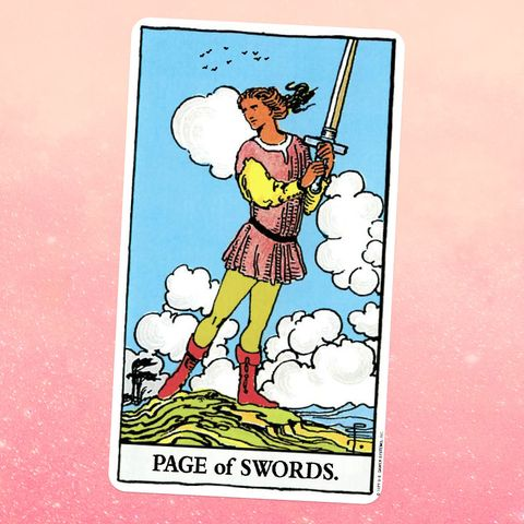 the tarot card the page of swords, showing a young person in a tunic and tights standing on the top of a hill, holding a sword