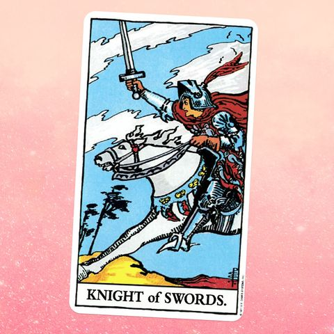 the tarot card the knight of swords, showing a knight in armor riding on a galloping horse and holding up their sword, as if going into battle