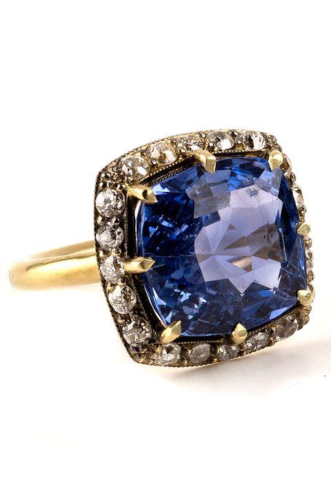 Jewellery, Fashion accessory, Ring, Gemstone, Blue, Cobalt blue, Engagement ring, Sapphire, Diamond, Body jewelry,