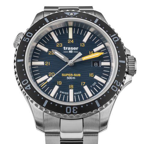 steel dive watch on bracelet