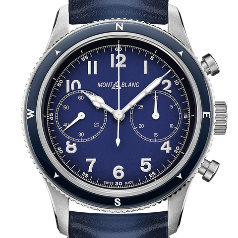 blue chronograph on blue strap