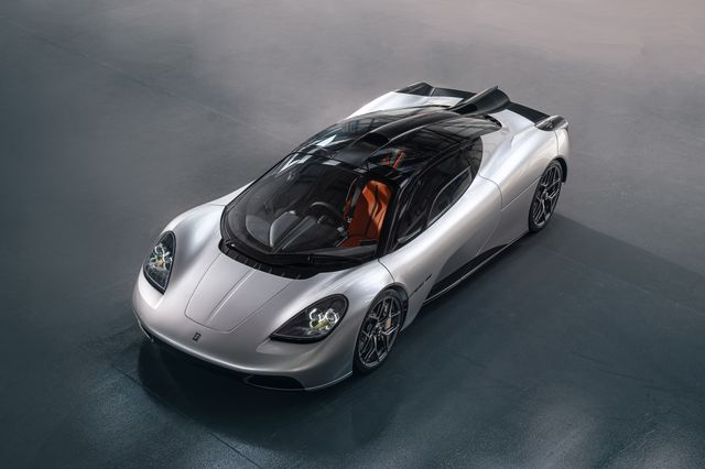 the gordon murray t50 supercar seen from front three quarter view