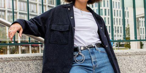 Denim, Clothing, Jeans, Street fashion, Shoulder, Outerwear, Jacket, Waist, Fashion, Textile,