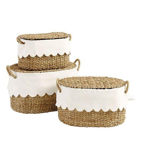 Basket, Storage basket, Flowerpot, Beige, Wicker, Home accessories, Tableware,
