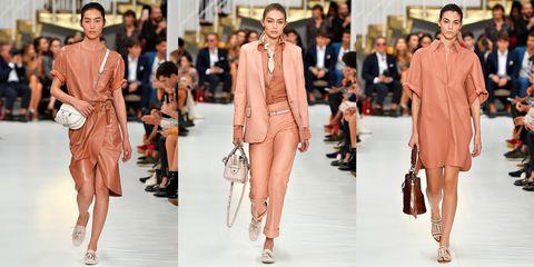 Fashion model, Fashion, Clothing, Fashion show, Runway, Brown, Footwear, Outerwear, Model, Street fashion,