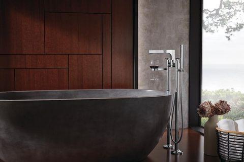 Bathroom, Bathtub, Tile, Room, Property, Tap, Floor, Plumbing fixture, Product, Wall,