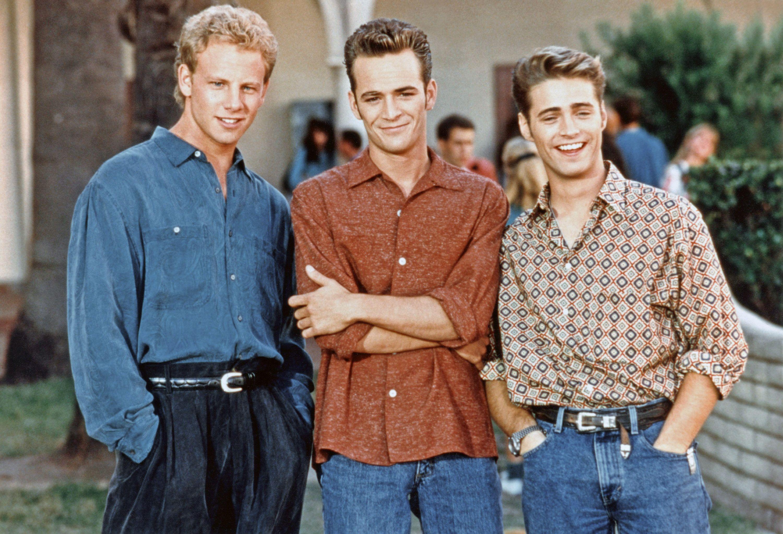 BEVERLY HILLS 90210, (from left): Ian Ziering, Luke Perry, Jason Priestley, 1990-2000.