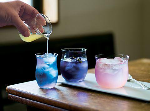 Drink, Non-alcoholic beverage, Italian soda, Blue hawaii, Ice cube, Cocktail, Paloma, Spritzer, Shrub, Blue lagoon,