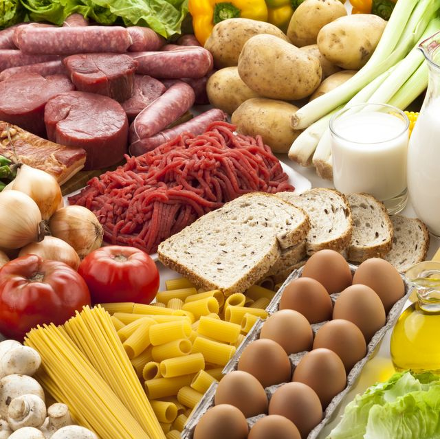 table filled with different types of foods