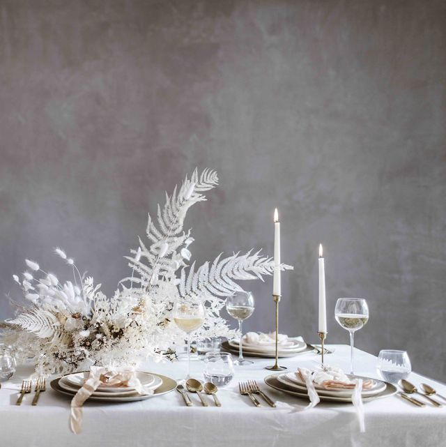 frosted whites dining table