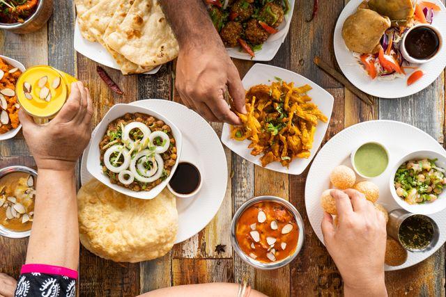table top view of vegetarian food