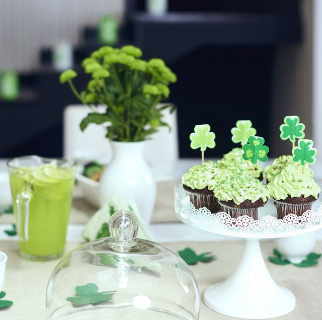 table with sweet food for saint patrick's day debica, poland