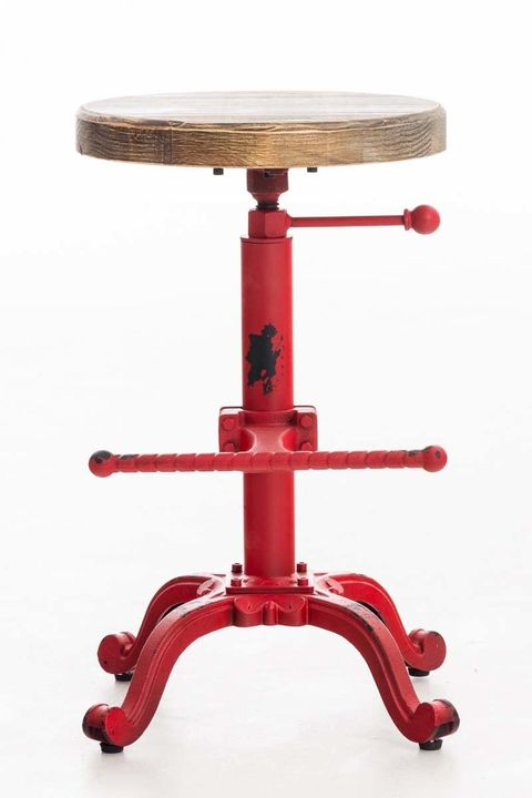 Taburete industrial regulable rojo