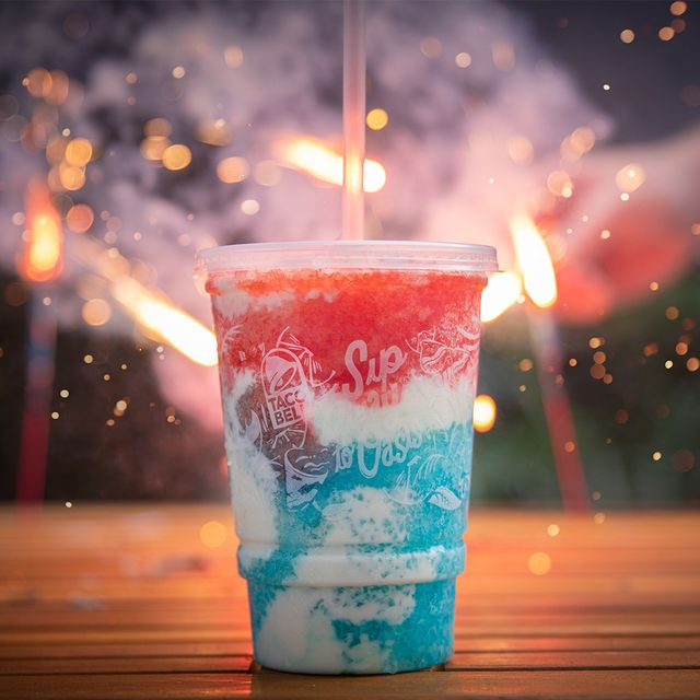 taco bell red, white, and blue freeze