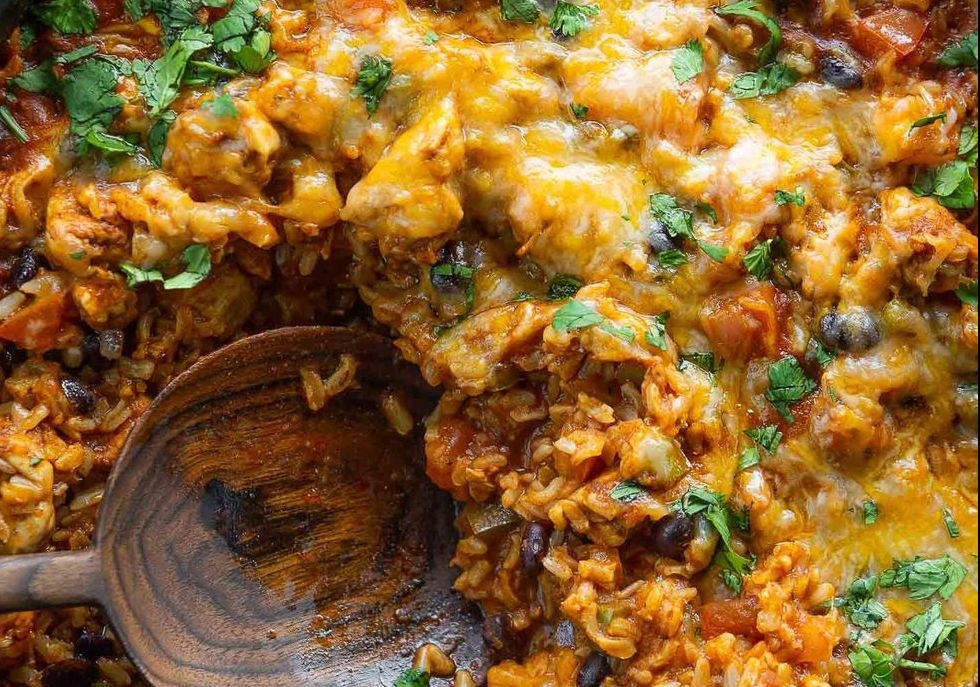 This Cheesy One Skillet Taco Chicken & Rice Is Loaded With Flavor