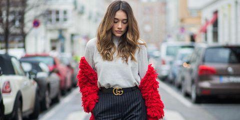Clothing, Street fashion, Fashion, Red, Waist, Snapshot, Shoulder, Fur, Fashion model, Outerwear,
