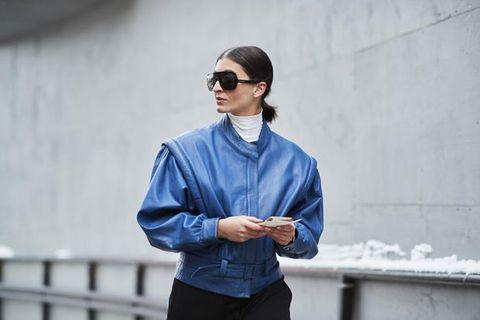 Eyewear, Street fashion, Blue, Clothing, Sunglasses, Fashion, Denim, Cool, Jacket, Outerwear,