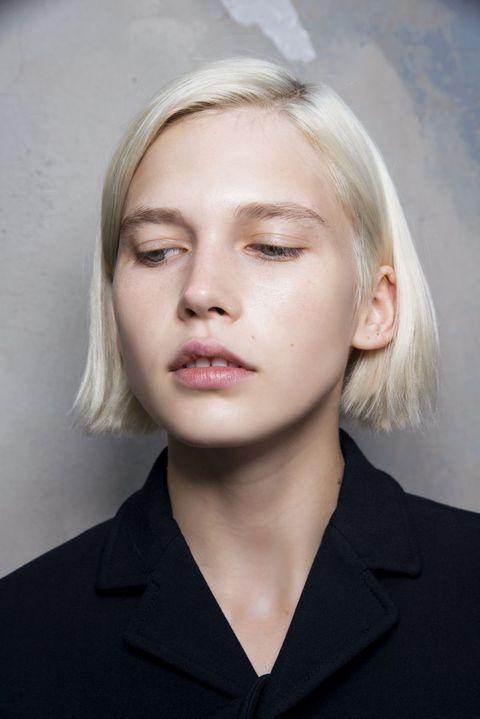 Hair, Face, Eyebrow, Chin, Blond, Hairstyle, Lip, Forehead, Beauty, Head,