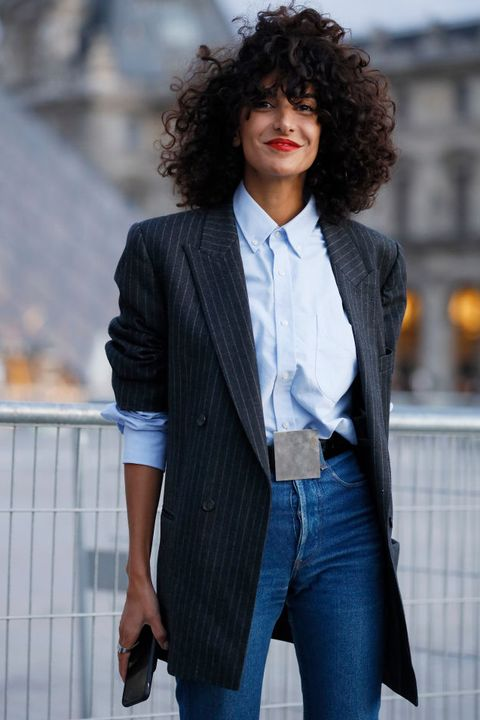 Clothing, Hair, Suit, Denim, Blue, Jeans, Outerwear, Blazer, Hairstyle, Fashion,