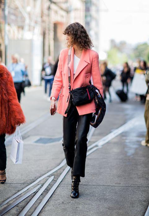 Street fashion, Clothing, Photograph, Fashion, Pink, Jeans, Red, Snapshot, Footwear, Shoulder,