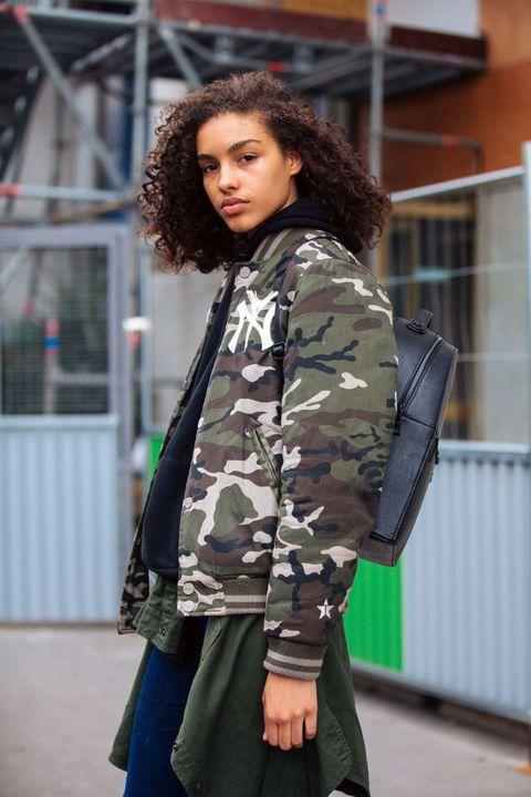 Clothing, Street fashion, Fashion, Jacket, Camouflage, Coat, Outerwear, Military camouflage, Snapshot, Parka,