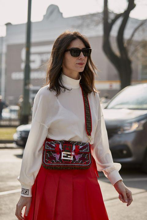 Clothing, White, Street fashion, Red, Fashion, Waist, Beauty, Dress, Eyewear, Maroon,