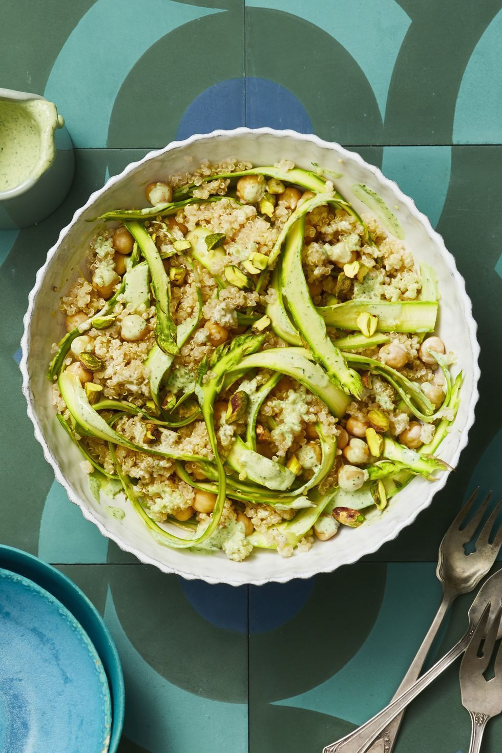 Tahini-Lemon Quinoa with Asparagus Ribbons