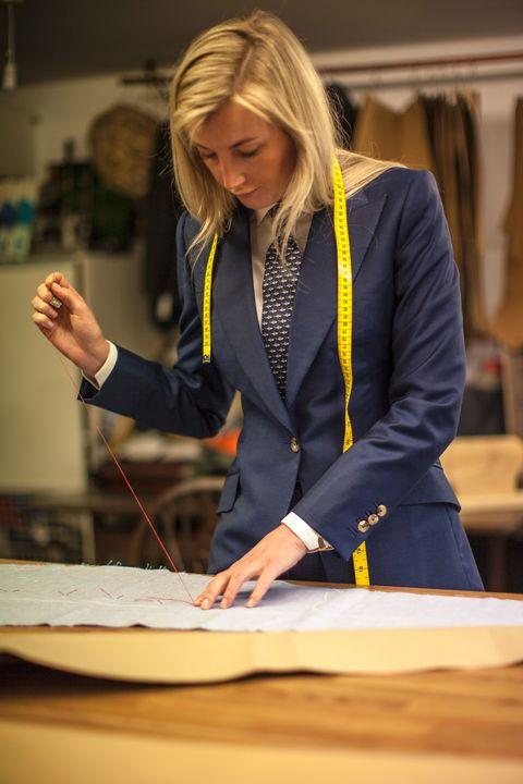 Yellow, Outerwear, Employment, Hand, Blazer, Fashion design, Student, Top, Job,