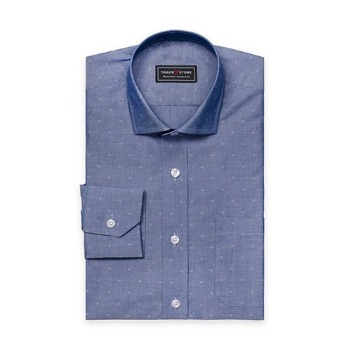 Tailor Store Dark Blue Dobby Weaved Cotton Shirt