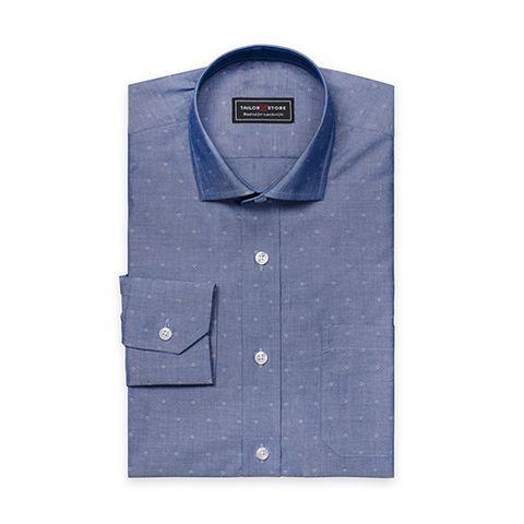 Tailor Store Dark Blue Dobby Weaved Cotton Shirt