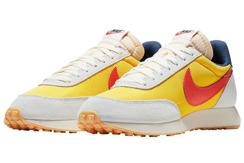 Shoe, Footwear, White, Sneakers, Orange, Sportswear, Yellow, Outdoor shoe, Product, Running shoe,