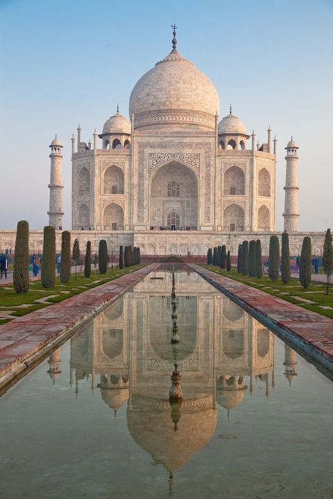 Landmark, Reflecting pool, Reflection, Historic site, Symmetry, Holy places, Mausoleum, Building, Wonders of the world, Dome,