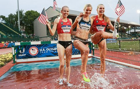 US steeplechasers Courtney Frerichs, Emma Coburn, Colleen Quigley