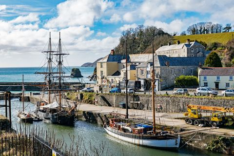 Tall Ships In The Historic Port Of Charlestown Cornwall England Britain Uk
