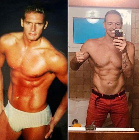 Barechested, Bodybuilder, Bodybuilding, Muscle, Abdomen, Chest, Stomach, Physical fitness, Briefs, Cheek,