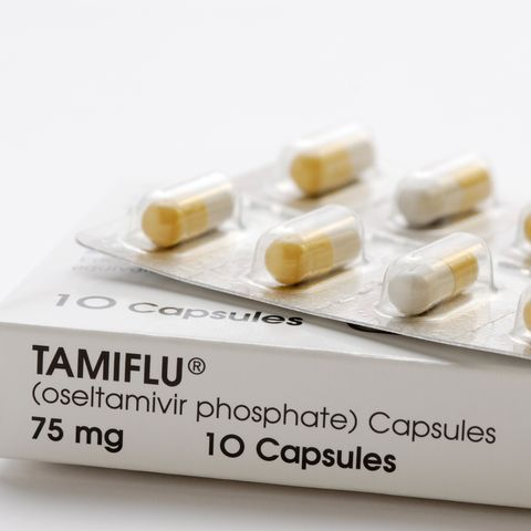 Tamiflu (oseltamivir phosphate), an antiviral medication used to treat influenza A and influenza B including swine flu and avian flu.