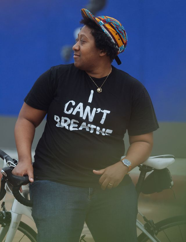 tamika butler in los angeles with their bike